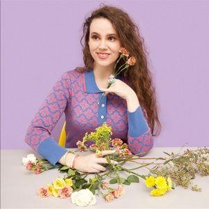 KATE SPADE Blue Pink Metallic Floral Polo Sweater